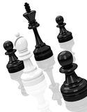Chess pawns. 3d generated picture of black and white pawns Stock Photography