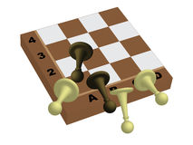 Chess. Pawns falling from chessboard over white Stock Photo