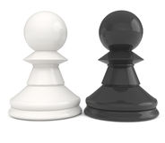 Chess Pawns isolated on white. 3d illustration Royalty Free Stock Images