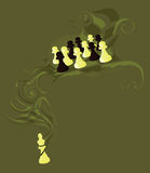 Chess pawns and the king Royalty Free Stock Photo