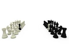 Chess pawns on rival teams. On white background Stock Photography