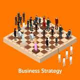 Chess People Figures on a Chessboard Isometric View. Vector. Chess People Figures on a Chessboard Isometric View Strategy Business Game or Corporate Competition Stock Photos