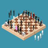 Chess People Figures on a Chessboard Isometric View. Vector Stock Image