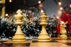 Chests and chessboard Stock Photo