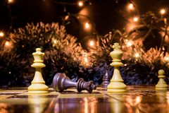 Chests and chessboard Stock Images