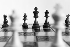 Chess photographed on a chessboard. Chess photographed on a chess board during game Royalty Free Stock Photography