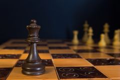 Chess on a chessboard. Chess photographed on a chessboard with creative background Stock Photo