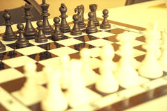Chess photographed on a chessboard Stock Photo
