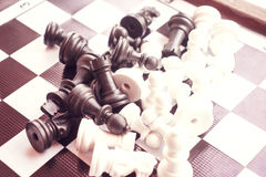 Chess photographed on a chessboard Royalty Free Stock Image