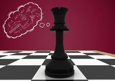 Chess piece against maroon background and thought cloud with math doodle Stock Images
