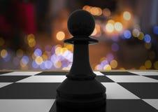 Chess piece against night bokeh. Digital composite of Chess piece against night bokeh Stock Photo
