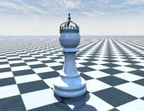 Chess piece on beautiful blue background with checkerboard. And sky Stock Image