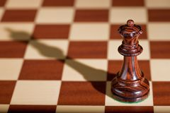 Chess piece - a black queen on a chessboard. Chess piece - a black queen with its shadow in the background on a chessboard Stock Image