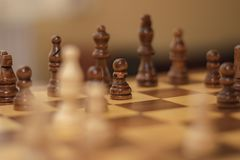 Chess piece with close up pawn. A close up chess piece of the pawn and ready to win the game with the army stock image
