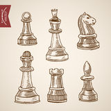 Chess piece figure king queen engraving lineart vintage vector Stock Photography