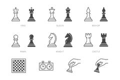 Free Chess Piece Line Icon. Vector Outline Illustration Of Pawn, Knight, Queen, Bishop, Horse, Rook. Checkmate Board Stock Photography - 181802672