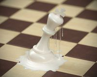 Chess piece Melted Concept for business competition and strategy. Chess piece Melted Concept for business competition and strategy, Board game 3d rendering royalty free illustration