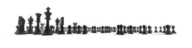 Chess piece panorama. 3D illustration chess pieces in wide panoramic composition Royalty Free Stock Photos