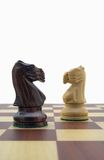 Chess pieces. Black and white knight Stock Photo