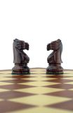Chess pieces. Two black knights Stock Photography