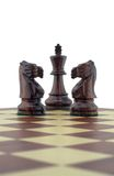 Chess pieces. Two black knights guarding the king Royalty Free Stock Photos