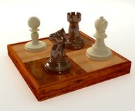 Chess pieces. 3D render of chess pieces Royalty Free Stock Photo