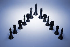 Chess Pieces. In Blue Tone Stock Photo