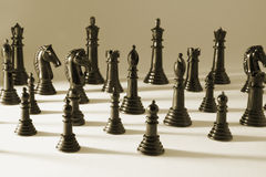 Chess Pieces. In Sepia Tone Stock Image