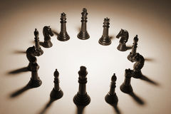 Chess Pieces. In Sepia Tone Royalty Free Stock Images