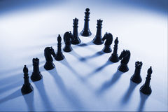 Chess Pieces. In Blue Tone Stock Photography