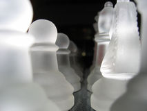 Chess Pieces. Frosted Glass Chess Game Pieces Royalty Free Stock Photos