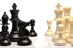 Chess pieces. Set of black and white chess pieces Stock Photo