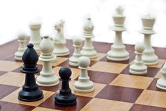 Chess Pieces. On a chess board Royalty Free Stock Image