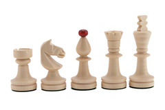 Chess pieces. Five white chess pieces together Stock Photo