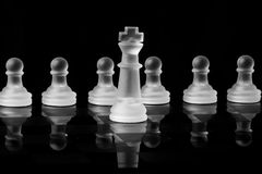 Chess Pieces. A picture of a frosted white king chess piece in front of several white pawns on a reflective chess board Royalty Free Stock Photography