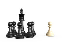 Chess Pieces. Black and white chess pieces, isolated on white background Royalty Free Stock Photo