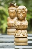 Chess Pieces 3. The queen and king of a wooden chess set Stock Photo