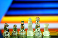Chess Pieces. With colorful abstract background stock image