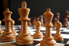 Chess pieces. White chess pieces on board at start of game Royalty Free Stock Photos