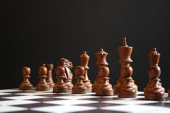 Chess pieces. Black chess pieces on board at start of game Royalty Free Stock Photo