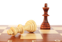 Chess pieces. Close up of two chess pieces stock photos