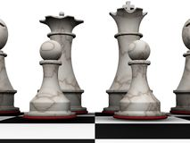 Chess pieces. 3D render of chess pieces Royalty Free Stock Images