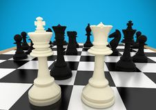 Chess pieces against blue background. Digital composite of Chess pieces against blue background vector illustration