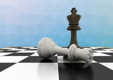 Chess pieces against blue  mesh Stock Photo