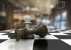 Chess pieces against blurry cafe with white math doodles Stock Photography