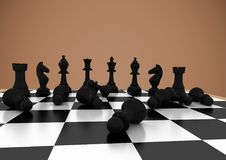 Chess pieces against brown background. Digital composite of Chess pieces against brown background stock illustration