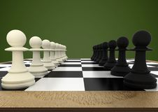 Chess pieces against green background. Digital composite of Chess pieces against green background stock illustration