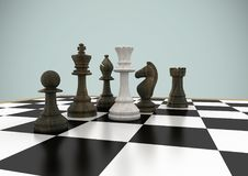 Chess pieces against grey background. Digital composite of Chess pieces against grey background stock illustration