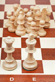 Chess pieces against the king and queen Royalty Free Stock Images