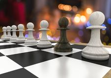 Chess pieces against night bokeh Royalty Free Stock Image